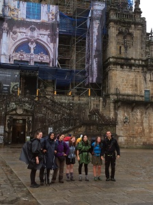 Pilgrims at the cathedral in Santiago