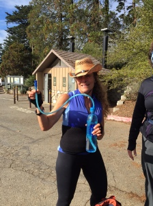 Cathy showing us her Blue Desert Hydration system