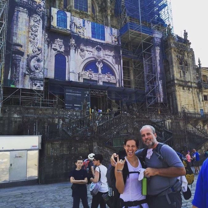 Brad & Briana at the Cathedral in Santiago
