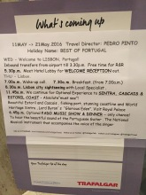 The welcome message with daily itinerary