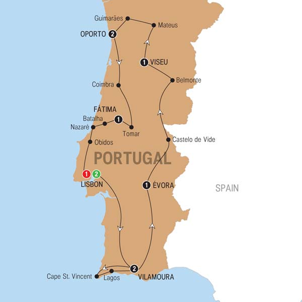 Trafalgar Tour Best of Portugal Map