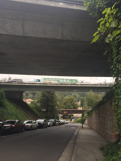 It was nice to walk under the highway instead of driving in the traffic.