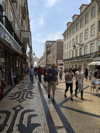Lots of people enjoying Lisbon's pedestrian zone