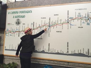 Karin pointing to Pontevedra