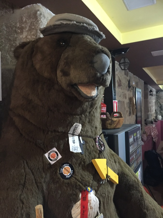 The Cafe owner was so sweet. I gave her a patch and she put it on the big stuffed bear.