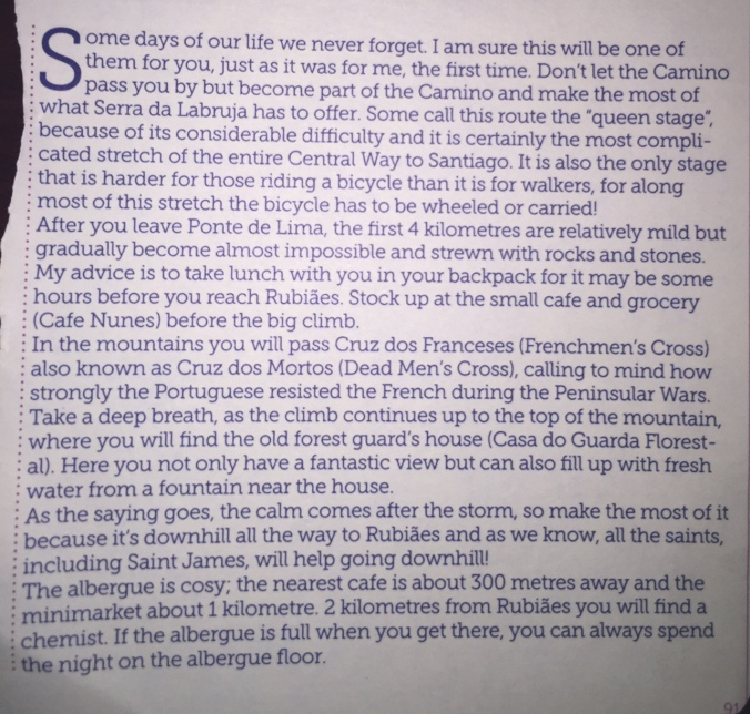 A nice passage from the My Way guidebook I bought in Porto