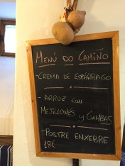 The pilgrim menu.