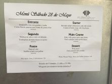 Three course dinner menu