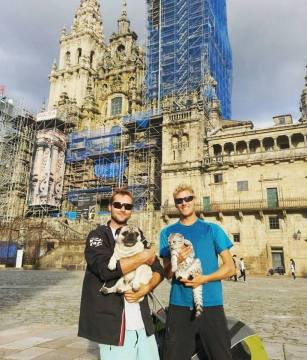 Celebrating the completion of their Camino in Santiago