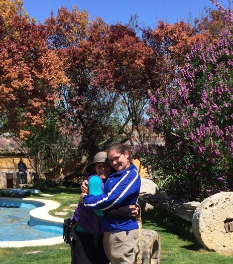 Hugging Maddy Austin goodbye as she moves ahead, on the Camino