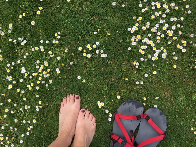 I love walking barefoot on grass.