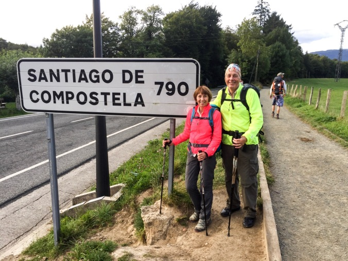 Mandy and Ken starting the Camino Frances