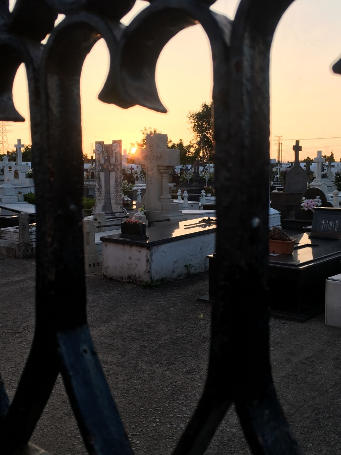 Sunset over the graveyard