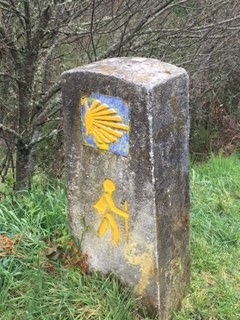 Scallop shell marking the way to Santiago