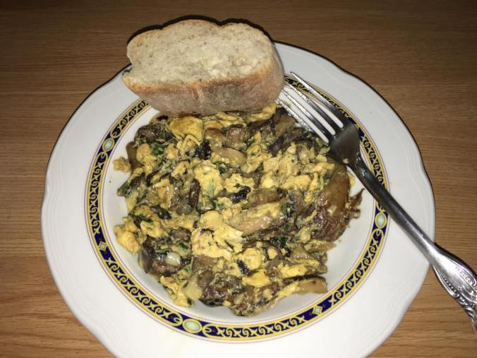 Scrambled eggs with mushrooms for dinner. Delicious!