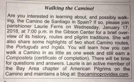 Corpus Christi bulletin announcement of my Camino presentation