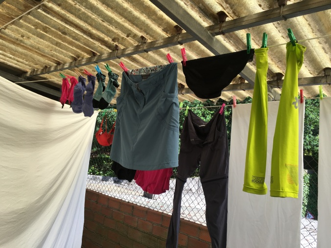 I washed everything and hung it up on the terrace to dry.