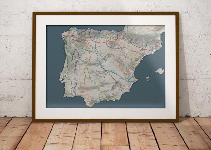 The Wise Pilgrim Camino Map Poster (frame not included)