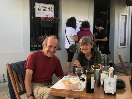 Andy Cohn and Kate Stewart enjoying a pilgrim meal with great wine