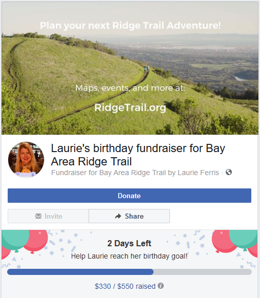 Laurie's Birthday Fundraiser for Bay Area Ridge Trail
